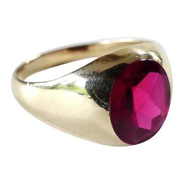Vintage Gent's Lab Ruby 10K Classic Ring-Sz12