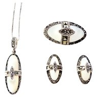 Sterling Silver 3 pc. Set Marcasites & Mother of Pearl