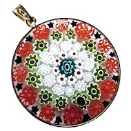 "Murano Glass Millefiori Pendant - Vermeil 1 1/4"""