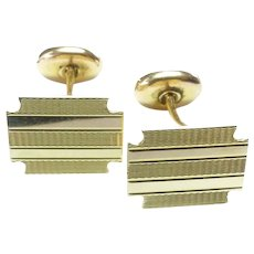 14K Cufflinks - Engraved Stripe by Eaton & Co