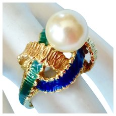 Gorgeous 18K Enamel Designer Ring ~ 9mm Cultured Pearl