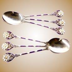 SS Enamel Flower Demitasse Spoons-Set/6