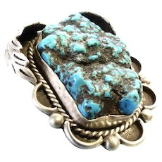 Turquoise & SS- Sea Foam Natural Gigantic Nugget- Bolo Tie