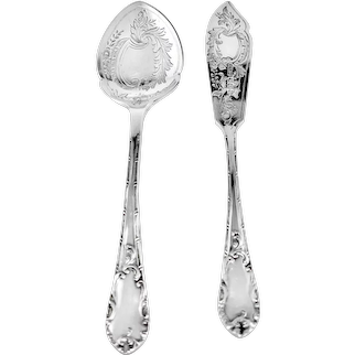 English Sterling Butter Knife & Jam Spoon Set