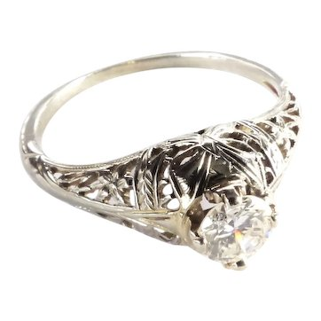 Edwardian .35ct. Diamond Antique Filigree Engagement Ring 18K White Gold -