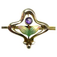 Antique Art Nouveau Flower Pin with Enamel & Amethyst