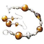 Bead Bracelet & Ear Set- Sparkling Topaz Lampwork, Amber & SS by eve dove gagnon