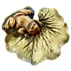 Frog on a Lily Pad Brooch ~ Joseff of Hollywood