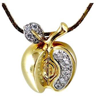 """18K & Diamonds """"Apple"""" Pendant Necklace"""