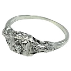 18K WG Art Deco Ring - Small Diamonds