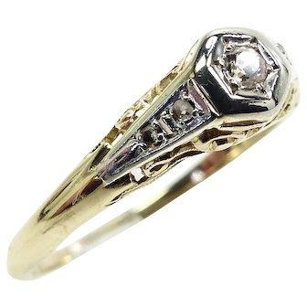 Edwardian 18K & Platinum Small Diamond Ring