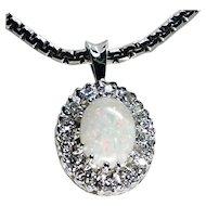 Fiery Opal & Diamonds Halo Pendant 14KWG Necklace