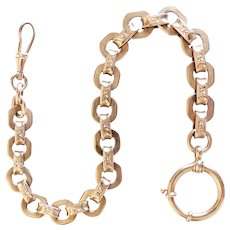 Large Heavy Solid 14K Victorian Watch Chain
