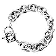 Sterling Silver Chunky Textured Links Bracelet