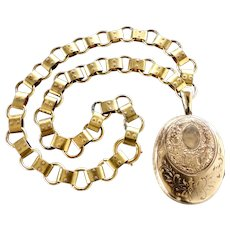 Antique Victorian Gold-Filled Locket & Bookchain Necklace