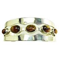 Vintage Mexican Sterling Silver Bracelet with 5 Tiger's Eye Gems