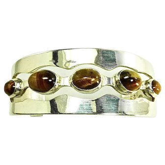Vintage Mexican Sterling Silver Bracelet with 5 Tiger's Eye Gems