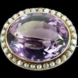 Victorian Amethyst & Seed Pearls Brooch-Pendant