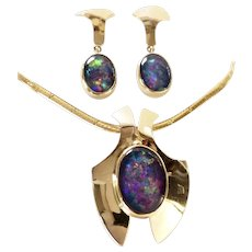 14K ~ Black Opal Triplets ~ Outstanding Necklace & Earrings Set