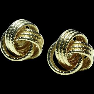 14K Post Earrings- Beautiful Knot Design