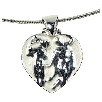 14K WG Heart Drop Pendant Necklace by Tagliamonte