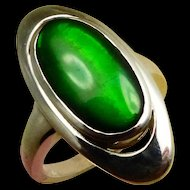 Vivid Green Ammolite in Signed Korite Sterling Silver Ring