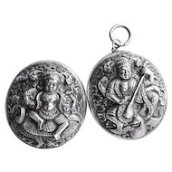 Antique Sterling Silver Tibetan Buddhist Goddess Locket c. 1880