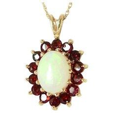 Vintage Opal & Garnets Cluster Pendant 10K YG
