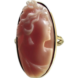 Victorian Pink Coral Cameo 14K Ring