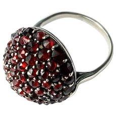 72 Rose Cut Bohemian Garnets Dome Ring