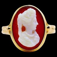 Antique Sardonyx Hardstone Cameo 10K Yellow Gold Ring