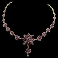 Antique Victorian Era Bohemian Rose Cut Garnets Necklace ~ circa 1880's