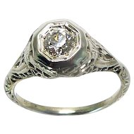 Art Deco 14K Filigree .40ct Diamond Solitaire Ring