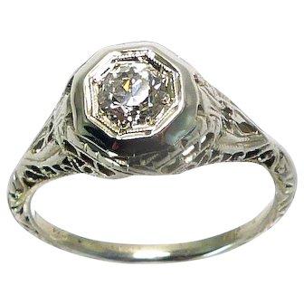 Art Deco 14K Filigree .40ct Diamond Solitaire Ring