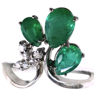 Gorgeous Three Emeralds (1.67 ct) 14K White Gold Large Ring