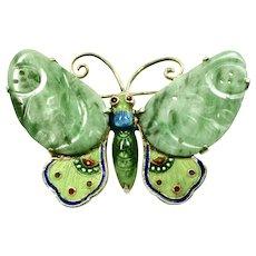 Jadeite Butterfly Brooch Cloisenné ~ China 1920's