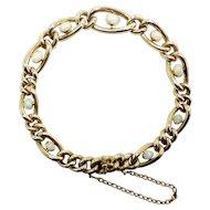 """9K Rose Gold Victorian Curb Link Bracelet – 9 Opals - 9"""""""