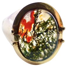 Large Gent's Ring -Dendritic Green & Red Moss Agate
