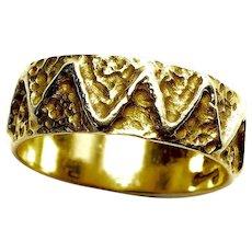 Patterned Wedding Band - 14K Yellow Gold - Size 6 1/4