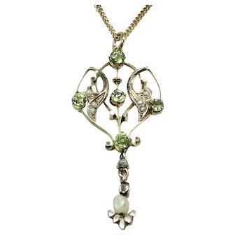 10K Art Nouveau Lavaliere Peridot & Pearls