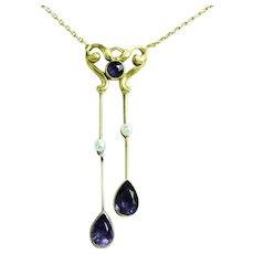 Edwardian 14K Gold Amethysts & Pearls Negligée Lavaliere Necklace