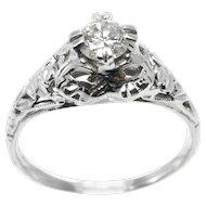 .38 ct. Diamond Art Deco Filigree Ring