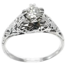 .38 ct. Diamond Art Deco Filigree Ring