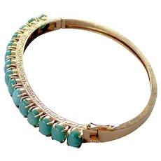 14K Bangle Bracelet ~ 15 Blue-Green Verdite Gems
