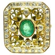 Emerald and Diamonds 18K Hand Pierced Filigree Dress Ring