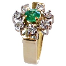 18K Emerald and Diamonds Designer Ring