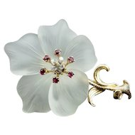 Large 14K Gold Crystal Rubies & Diamonds Flower Brooch