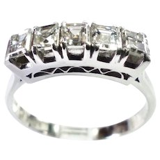 Five Diamonds in Line Platinum Ring