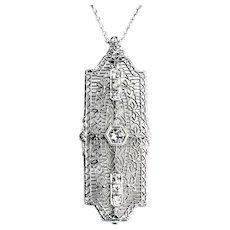 Large Art Deco Diamond Pendant Brooch | 14K WG Filigree