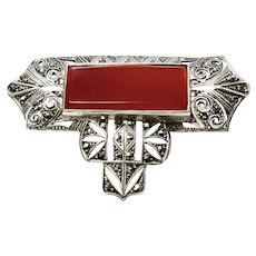 Art Deco Marcasite Carnelian Sterling Silver Big Brooch